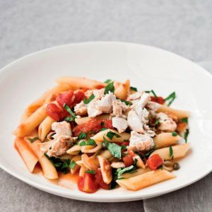 Penne Rigate with Spicy Braised Swordfish