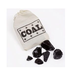 """Was someone naughty this year? Trick them into being good: Give them a stocking full of coal! Of course it's actually cinnamon candy, but it <i>will</i> turn their mouths (temporarily) blue. (<a href=""""http://www.hammondscandies.com/candy-coal-p-8.html"""" target=""""_blank"""">hammondscandies.com</a>, $3.95)"""