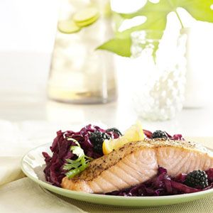 Salmon Over Sweet and Sour Cabbage