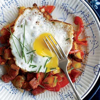 """<p>This classic hash is delicious and filling — the perfect breakfast combo.</p><p><b>Recipe:</b> <a href=""""/recipefinder/corned-beef-hash-fried-eggs-recipe-fw1211""""><b>Corned Beef Hash with Fried Eggs</b></a></p>"""