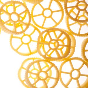 "<p>Round and ridged on the outside and sectioned off on the inside, this type of pasta quite literally resembles a wagon wheel. A favorite of kids for its fun shape, this type is most often seen as a counterpart to vegetables or served in cold pasta salads. Also called rotelle, wagon wheels are usually sold dried. The individual pieces are about as big in diameter as a quarter.</p><br /> <p><a href=""""/search/fast_search_recipes?search_term=wagon+wheels""""><b>Find recipes with wagon wheels</b></a></p>"