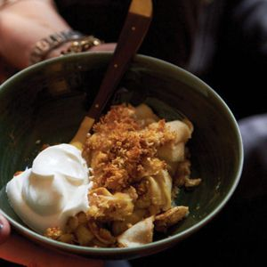 "<p>Michael Symon usually doesn't make dessert for holidays. Still, his version of this classic is great after a big meal because it isn't too sweet or too heavy. He layers brioche bread crumbs with sliced apples and a cinnamon-citrus sugar, baking everything together so it becomes wonderfully soft.</p> <p><strong>Recipe:</strong> <a href=""/recipefinder/apple-brown-betty-recipe-fw1111"" target=""_blank""><strong>Apple Brown Betty</strong></a></p>"