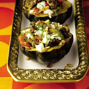"<p>This all-in-one dish will wow your guests.  If you can, make the turkey sausage one day ahead for a bolder flavor.</p><p><strong>Recipe:</strong> <a href=""http://www.delish.com/recipefinder/guy-fieri-roasted-acorn-squash-turkey-sausage-peppers-goat-cheese-recipe""><strong>Guy Fieri's Roasted Acorn Squash with Turkey Sausage, Peppers, and Goat Cheese</strong></a></p>"
