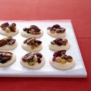 """<p>Choose your favorite mix of dried fruit and nuts — raisins, cherries, cranberries, chopped apricots, almonds, pecans, walnuts, hazelnuts, pistachios, and macadamia nuts are all good choices — to make these white chocolate cluster candies.</p><br /><p><b>Recipe:</b> <a href=""""/recipefinder/white-chocolate-clusters-fruit-nuts-recipe-mslo0112""""><b>White-Chocolate Clusters with Fruit and Nuts</b></a></p>"""