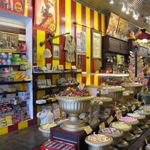 """<p>If you're strolling down hip South Congress, pop into Big Top's circus-themed sweet shop to sample a wide variety of rare and classic candies, from Necco wafers and barrels of salt water taffy to Asian gummies and Teaberry gum. Quench your thirst for nostalgia with an egg cream at their old-fashioned soda fountain.</p><br /><p><b>Special treats:</b> Locals love Big Top's seasonal cucumber soda. And there's chocolate-covered bacon. Need we say more? </p><br /><br /><p><i><a href=""""http://bigtopcandyshop.tumblr.com/"""" target=""""_new"""">http://bigtopcandyshop.tumblr.com</a>&#x3B; 1706 S. Congress Ave.&#x3B; (512) 462-2220</i></p>"""
