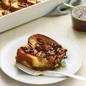 "<p>Thick brioche slices soak up the batter, while sugared pecans lend a caramelized crunch. Refrigerating the dish overnight leaves nothing to do but top it with pecans and bake it the next morning.</p><br /><p><b>Recipe:</b> <a href=""/recipefinder/recipe-baked-french-toast-recipe-mslo0312""><b>Baked French Toast</b></a></p>"