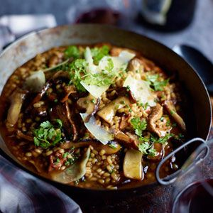 """<p>Chef Naomi Pomeroy uses barley to make her hearty version of risotto, packed with sautéed oyster mushrooms. The dish is substantial enough to be a main course for a lunch&#x3B; to make it vegetarian, substitute good vegetable stock for the beef broth. </p><br /><p><b>Recipe: <a href=""""/recipefinder/barley-risotto-garlicky-mushrooms-recipe-fw0312"""">Barley Risotto with Garlicky Mushrooms</a></b></p>"""