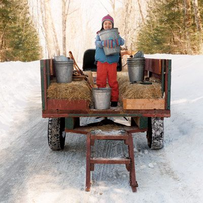 Maple sugaring is a magical tradition. No one but Mother Nature can predict when sap will start running, but the season typically begins between mid-February and March and lasts for four to six weeks. Since sugaring time differs from region to region (sap runs earlier in southern locations), be flexible when planning trip dates. <br><br> <b>Pictured:</b> On a family outing to a maple farm at The Rocks Estate, a 1,400-acre forest reserve near her home in Bethlehem, N.H., Luca Sato embraced the chance to venture into the sugar bush to help harvest sap.