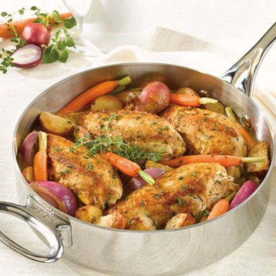 "<p>Chicken breasts, sautéed in a skillet until golden, are finished in the oven with potatoes, onions, carrots, and herbs.</p><br /><p><b>Recipe: <a href=""/recipefinder/chicken-vegetables-herbs-recipe-campbells-1109"" target=""_blank"">Pan-Sautéed Chicken with Vegetables and Herbs</a> </b></p>"