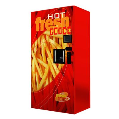 """<p><b>Location:</b> Australia</p> <p><b>Price:</b> $1.50-$2</p> <br /> <p>Thanks to advances in modern vending machinery, golden, freshly prepared French fries are just a few taps of an LCD screen away. From the country that consumes half of its potatoes in the form of fries comes the <a href=""""http://foodcube.com.au/index.php?option=com_frontpage&Itemid=1"""" target=""""_blank"""">FoodCube</a> and <a href=""""http://hotfreshfries.com/"""" target=""""_blank"""">Hot Fresh Fries</a>, both of which store frozen potatoes, fry them in less than two minutes, then salt and dispense them complete with sauce and a napkin.</p>"""