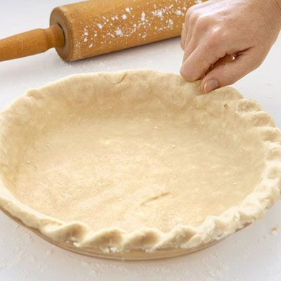 Press thumb into dough edge at an angle, then pinch dough between thumb and knuckle of index finger. Place thumb in groove left by index finger&#x3B; pinch as before. Repeat, rotating pie plate as you go.