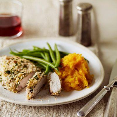 "Add a crust.<br /><br /> Panko, red pepper, walnuts, and parsley give basic chicken breasts a tasty crunch.<br /><br /> <b>Recipe:</b> <a href=""/recipefinder/walnut-crusted-chicken-cutlets-recipe""target=""_new"">Walnut-Crusted Chicken Cutlets</a>"