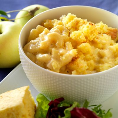 "<p>This recipe, topped with cornbread crumbles, will blow carb lovers away.</p><br />  <p><b>Recipe: <a href=""/recipefinder/cornbread-apple-macaroni-cheese"" target=""_blank""><b>Cornbread Topped Apple Macaroni and Cheese</b></a></b> (pictured)</p><br /> <p><b>More Recipes:<br />  <a href=""/recipefinder/macaroni-cheese-buttery-crumbs-recipe-7966"" target=""_blank""><b>Mac & Cheese with Buttery Crumbs</b></a><br /> <a href=""/recipefinder/macaroni-cheese-caramelized-onions"" target=""_blank""><b>Mac & Cheese with Caramelized Onions</b></a><br /> <a href=""/recipefinder/sweet-potato-garlic-macaroni-cheese"" target=""_blank""><b>Caramelized Sweet Potato, Garlic, and Rosemary Macaroni & Cheese</b></a></b></p>"