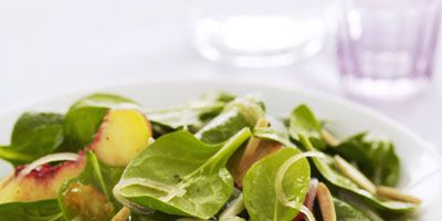 """If you're taking this spinach salad for lunch, toss the nectarines with dressing and pack separately from greens.<br /><br /><b>Recipe: </b><b><a href=""""spinach-nectarine-salad-ghk""""target=""""_new"""">Spinach and Nectarine Salad</a> (pictured)</b><br /><br /> <b>More Recipes:<br /> <a href=""""/recipefinder/spinach-salad-japanese-ginger-dressing-recipe-10150""""target=""""_new"""">Spinach Salad with Japanese Ginger Dressing</a><br /> <a href=""""/recipefinder/spinach-strawberry-salad-recipe""""target=""""_new"""">Spinach and Strawberry Salad</a></b>"""