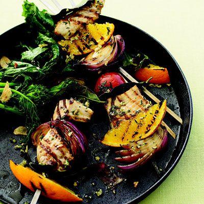 "This colorful swordfish dish combines the bright flavors of orange and thyme.<br /><br /> <b>Recipe: <a href=""/recipefinder/swordfish-spiedini-rbk0308""target=""_new"">Swordfish Spiedini</a></b>"