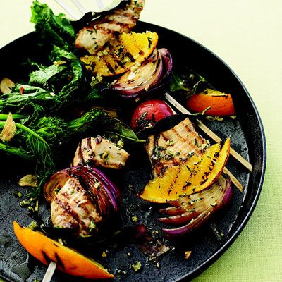 "This colorful swordfish dish combines the bright flavors of orange and thyme.<br /><br /> <b>Recipe: <a href=""/recipefinder/swordfish-spiedini-rbk0308""target=""_new"">Swordfish Spiedini</a></b>"