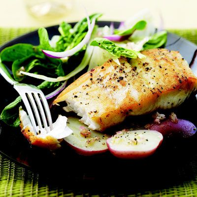 "In this dish, halibut shares a plate with perky, licorice-scented fennel salad.<br /><br /> <b>Recipe: <a href=""/recipefinder/sauteed-halibut-shaved-fennel-salad-rbk0308""target=""_new"">Sautéed Halibut with Shaved Fennel Salad</a></b>"