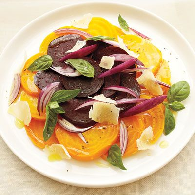 """Red and yellow beets add a sweet, buttery, earthy flavor to these sides.<br /><br /> <b>Recipe:</b> <b><a href=""""/recipefinder/lemon-basil-beet-salad-recipe""""target=""""_new"""">Lemon-Basil Beet Salad</a></b> (pictured) <b><br /><br /> More Recipes: <br /> <a href=""""/recipefinder/shredded-beets-orange-zest-recipe""""target=""""_new"""">Shredded Beets with Orange Zest</a><br /> <a href=""""/recipefinder/beet-apple-soup-recipe""""target=""""_new"""">Beet-and-Apple Soup</a> </b>"""