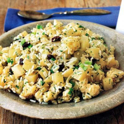 "<p>Last night's side dish can easily become tonight's main attraction. Raid the pantry for spices that will add some flavor to this staple grain. Try an Asian-inspired dish or make rice the focus in a spicy salad.</p><br /> <p><b>Pictured Recipe: </b><a href=""/recipefinder/basmati-rice-salad-cauliflower-potatoes-recipe-7906"" target=""_blank""><b>Basmati-Rice Salad with Cauliflower and Potatoes</b></a></p><br /> <p><b>More Recipe Suggestions:</b><br /> <a href=""/recipefinder/mushroom-fried-rice-recipe-7669"" target=""_blank""><b>Mushroom Fried Rice</b></a><br /> <a href=""/recipefinder/rice-salad-merguez-preserved-lemon-dressing-recipe-8855"" target=""_blank""><b>Rice Salad with Merguez and Preserved Lemon Dressing</b></a><br />"