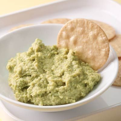 """<p>Think of this protein-rich dip as an Asian version of hummus, made with edamame, ginger, and soy. Serve with rice crackers and/or carrot sticks.</p><br /> <p><b>Recipe: </b><a href=""""/recipefinder/edamame-ginger-dip-recipe"""" target=""""_blank""""><b>Edamame-Ginger Dip</b></a></p>"""
