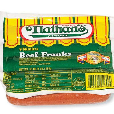 "<p><b>#1: <a href=""http://www.nathansfamous.com/PageFetch/""target=""_new"">Nathan's Famous Beef Franks</a></b> <br /> They've got a good, beefy flavor, great texture, and skin that snaps without feeling rubbery. These taste like hot dogs should.<br /><br />  <p><b>#2: <a href=""http://www.hebrewnational.com/index.jsp""target=""_new"">Hebrew National Kosher Beef Franks </a></b><br /> These were a close second.</p><br /> <p><b>Related Recipe: <a href=""recipefinder/ale-brined-frankfurters-chicagostyle-3211"" target=""_blank"">Ale-Brined Frankfurters Chicago Style</a></b></p>"