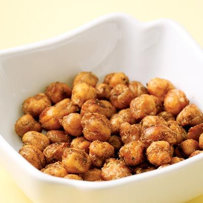 """<p>When roasted in a hot oven, chickpeas become super-crunchy. They're a great low-fat substitute for nuts when salty cravings hit.</p><br /> <p><b>Recipe: </b><a href=""""/recipefinder/spiced-chickpea-nuts-recipe"""" target=""""_blank""""><b>Spiced Chickpea """"Nuts""""</b></a></p>"""