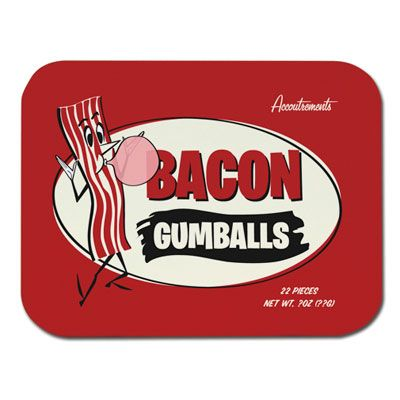 "<p>Novelty candy retailer <a href=""http://www.mcphee.com/shop/categories/Awesome-Stuff/Bacon-&-Meat"" target=""_blank"">Archie McPhee</a> produces some of the wackiest bacon products around. Bacon-flavored gumballs, mints, and jelly beans top our list. After you're done munching on all of the bacon candy, be sure to clean your teeth using the bacon dental floss!</p>"
