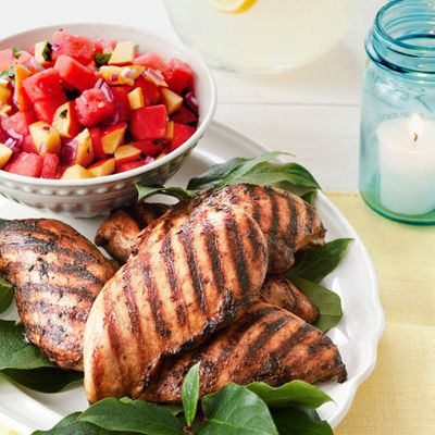 <p>A jerk-style seasoning of Jamaican allspice and java gives this Caribbean chicken its caffeinated kick. A cooling salsa of nectarines and juicy watermelon can balance the heat during the summer months.</p><br />