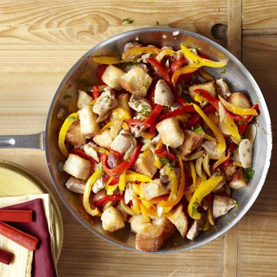 "<p>With just a few rustic, rich-tasting add-ins — sherry, slivers of green olive, comforting cubes of bread — chicken thighs gain savory Spanish flavor.</p><br /> <p><b>Recipe: </b><a href=""/recipefinder/chicken-olives-peppers-recipe-ghk0910"" target=""_blank""><b>Chicken with Olives and Peppers</b></a></p>"