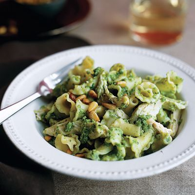 "<p>Pureed peas add body and flavor to this verdant spring pesto, made with mint instead of traditional basil.</p><br /><p><b>Recipe: <a href=""/recipefinder/campanelle-chicken-pea-mint-pesto"" target=""_blank"">Campanelle with Chicken and Pea-Mint Pesto</a></b></p>"
