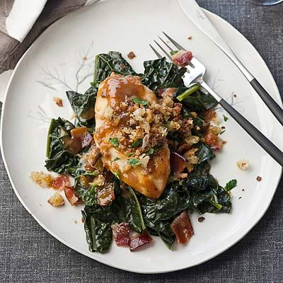 "At <a href=""http://www.emerils.com/restaurant/1/Emerils-New-Orleans/"" target=""_blank"">Emeril's in New Orleans</a>, chef David Slater glazes chicken breasts with <a href=""/recipes/cooking-recipes/5-maple-syrup-recipes"" target=""_blank"">maple syrup</a>, sherry vinegar, and orange juice infused with anise and other spices. Then he serves them with a confited chicken leg, caramelized root vegetables, braised kale, and crisp Benton's bacon. At home glaze the chicken breasts with a sweet-tangy blend of syrup and vinegar and skip the confited leg and root vegetables.<br /><br /><b>Recipe: <a href=""/recipefinder/maple-glazed-chicken-breasts-mustard-jus-recipe"" target=""_blank"">Maple-Glazed Chicken Breasts with Mustard Jus</a></b>"