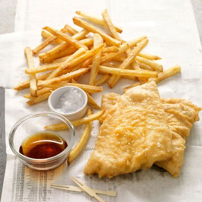 "<p>Perhaps the most ubiquitous of all UK comfort foods, crisp, tender fish and chips are traditionally accompanied by sea salt and vinegar.</p><br /> <p><b>Recipes: </b><a href=""/recipefinder/fish-chips-recipe-opr0310"" target=""_blank""><b>Fish and Chips</b></a></p>"