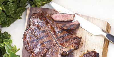 """<b>Tonight:</b> Big, thick steaks need a lot of seasoning, so be sure to cover them liberally with salt, pepper, and any rub — ancho chile pepper, cumin, hot paprika, and garlic powder here — before grilling.<br /><br /><b>Recipe:</b> <a href=""""/recipefinder/spice-rubbed-t-bone-steaks-recipe-fw0610"""" target=""""_blank""""><b>Spice-Rubbed T-Bone Steaks</b></a>"""