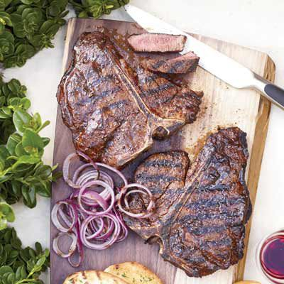 "<b>Tonight:</b> Big, thick steaks need a lot of seasoning, so be sure to cover them liberally with salt, pepper, and any rub — ancho chile pepper, cumin, hot paprika, and garlic powder here — before grilling.<br /><br /><b>Recipe:</b> <a href=""/recipefinder/spice-rubbed-t-bone-steaks-recipe-fw0610"" target=""_blank""><b>Spice-Rubbed T-Bone Steaks</b></a>"