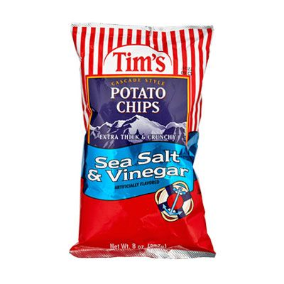 "Only potatoes grown on family-owned farms in the Pacific Northwest make the cut at Tim's. <br /><br /><b>Tim's Cascade Style Sea Salt and Vinegar Potato Chips</b> (<a href=""http://www.timschips.com/mm5/merchant.mvc"" target=""_blank"">timschips.com</a>)"