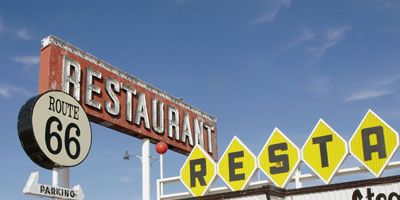 """<p><b>Pit Stop:</b> Route 66 Restaurant, 2295 Historic Route 66 (1819 Will Rogers Drive), Santa Rosa, NM, (575) 472-9925</p><br /><p>Stretching nearly 2,500 miles from Chicago to Los Angeles, John Steinbeck coined this famous highway """"Mother Road."""" When you're in New Mexico, get your kicks at the eponymous Route 66 Restaurant in Santa Rosa.</p><p><b>Road Tip:</b> Go for local Southwest flavors with an order of <a href=""""http://www.delish.com/recipefinder/huevos-rancheros-2940"""" target=""""_blank""""><b>Huevos Rancheros</b></a>.</p>"""