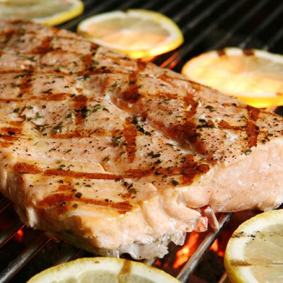 """<p>Your second challenge, and perhaps the trickiest, is figuring out how to keep the fish from sticking to the grill — every fish flipper's nightmare.  The solution is a well-prepped grill, dry product, and the proper level of grill heat, which is usually medium-high. </p><br /><p><b>Recipe Idea: <a href=""""http://www.delish.com/recipefinder/grilled-salmon-mustard-herbs-recipe-5769""""target=""""_blank"""">Grilled Salmon with Mustard and Herbs</a></b></p>"""