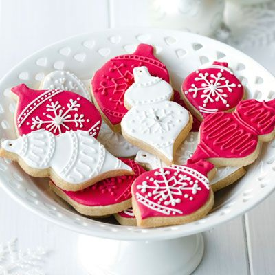<p>No cookie tray for Santa would be complete without classic sugar cookies, cut into pretty seasonal shapes and decorated with colorful icing in festive patterns.</p>