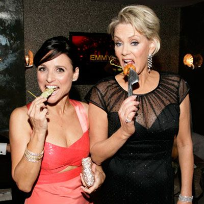 <p>Before hitting their seats for the three-hour-long ceremony, actresses Julia Louis-Dreyfus and Jean Smart grab a quick bite (careful not to smear their lipstick) inside the Architectural Digest Green Room at the 60th Primetime Emmy Awards in Los Angeles.</p>