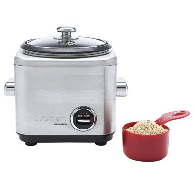 The compact Cuisinart 4-Cup Rice Cooker CRC-400 ($80) does the job as quickly as a stovetop. In our tests, rice came out tender but not overcooked, and it didn't burn at the bottom. This multitasking appliance also lets you steam small portions of veggies.