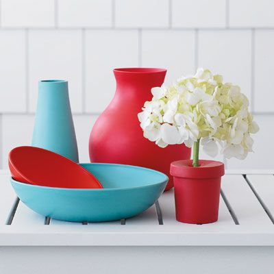 "Indestructible rubber vases and bowls are perfect for outdoors. <br><br> Rubber red vase, $39; rubber bud vase (holds one stem), $36 for set of 2: both from The Conran Shop, <a href=""http://www.conranusa.com/""target=""_new"">conranusa.com</a>. <br> Rubber vase in turquoise, $22; rubber plates in  turquoise and red, $13 (small) and $26 (large): all from  Bo Home, <a href=""http://www.bolifestyle.com/""target=""_new"">bolifestyle.com</a>."