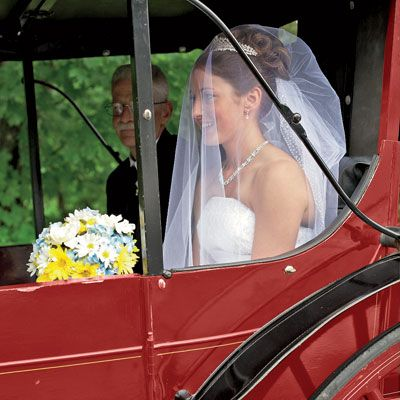 Beautiful in a strapless gown, Missy arrived in a stately horse-drawn carriage, then passed beneath a grape arbor before entering the garden; her awaiting bridesmaids were dressed in blue. As she walked toward Mike, strains of live Celtic music filled the garden.