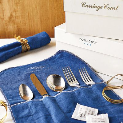 "When storing silverware, it's best to separate it into place settings, so you can easily pull what you need for an impromptu dinner party.   Felt cases such as these from The Container Store (6-piece Silver Place Setting Roll; <a href=""http://www.containerstore.com"" target=""_blank"">containerstore.com</a>) will help protect your flatware. <br><b>TIP:</b> The next time you buy a pair of shoes, save those little packets of desiccant crystals that come in the box. They're great for combating humidity and tarnish."