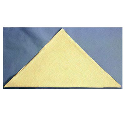 <p>Fold the napkin in half diagonally to form a triangle.</p><br />