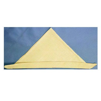 <p>Fold the long bottom edge of the triangle up slightly to form a pleat.</p><br />