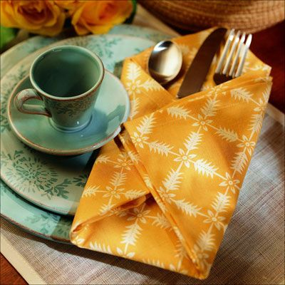 <p>A cotton print napkin isideal for this soft, flexible fold.</p><br />