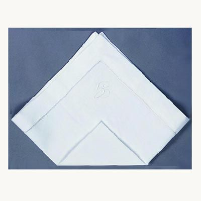 <p>Fold the napkin into quarters.</p><br /><p>Position the open corners at the top.</p><br /><p>Fold the bottom point up.</p><br />