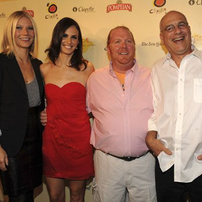 <i>Spain ... on the Road Again</i> cohosts Gwyneth Paltrow, Claudia Bassols, Mario Batali, and Mark Bittman reunite for the premiere party, where they relished congratulatory hugs and kisses while sipping and sampling more of Spain's gastronomic delights.