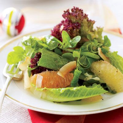 "<p>Recalling the down-home taste of classic ambrosia (minus all the diet-derailing mayo), this refreshing first course is only 110 calories and has a deliciously tart dressing you whip up using lime and other juices. Try our <u><a href=""/recipefinder/citrus-ambrosia-salad-ghk1207"" target=""_blank"">Citrus Ambrosia Salad recipe</a></u>."
