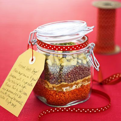 "<p>Dried lentils and seasonings are layered into a beribboned mason jar to create this inexpensive, one-of-a-kind holiday gift.</p><br /> <p>Check out our <a href=""/recipefinder/curried-lentil-soup-december-recipes"" target=""_blank"">Curried Lentil Soup Recipe</a> for complete instructions.</p>"